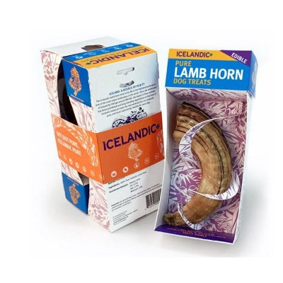 Icelandic Plus Lamb Horn, Single Pack Dog Treat