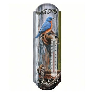 Bluebird Tin Thermometer