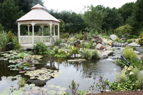 Escape to a gazebo overlooking a pond.