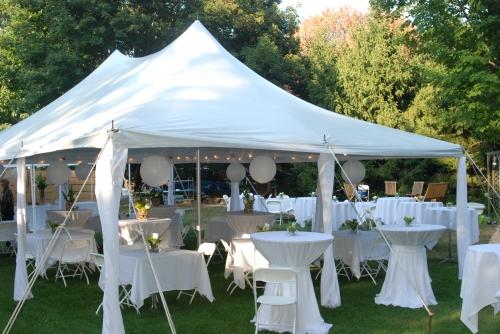 20x30 White Elite Tent - White Chairs - Pedestal & Cocktail Tables