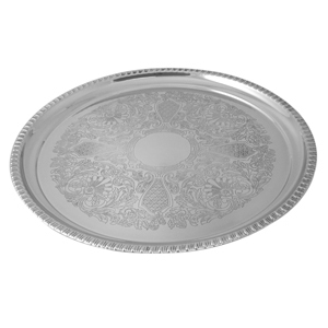 "Progressive Pro 12"" SS Round Tray with Gadroon Boarder"