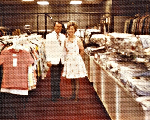 Jack and Carolyn Ward in remodeled location, 1975