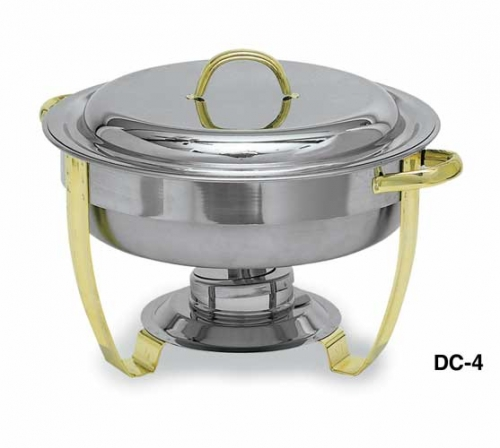 Deluxe Round 4 qt Gold Accent Chafer