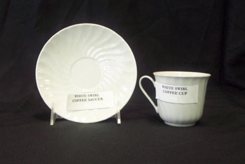 Coffee Cup & Saucer White Swirl