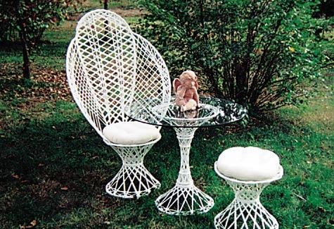 Chair, White Wicker Shower