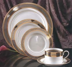 Elegant White Cotillion China with Gold & Silver Filigree Trim