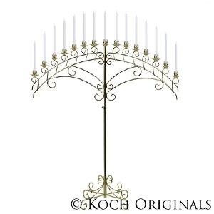 15 Light Fan Floor Candelabra - Brass