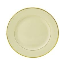 PLATE DINNER IVORY WITH GOLD BAND
