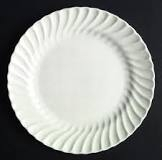 PLATE DINNER WHITE SWIRL PATTERN