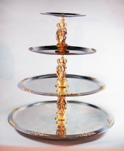 3 Tier Serving Tray, Silver with Gold Trim