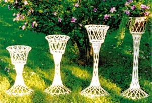 Flower Stands, White Wicker