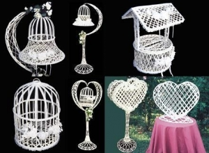 Bases, For White Wicker Bells or Bird Cage