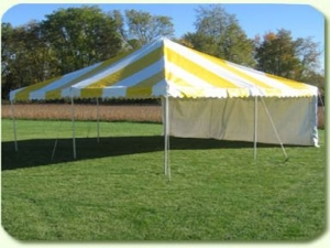 Tent, Yellow & White Stripped Pole 20' x 20'