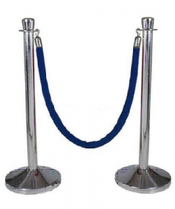 Stanchion, Chrome with Velvet Rope