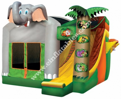 Einflatables 4 in 1 Jungle Moonwalk Bounce
