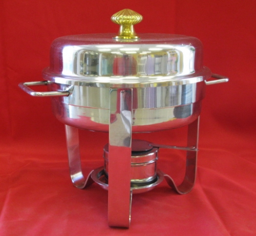 Chafer Round Stainless 3qt Gold Trim