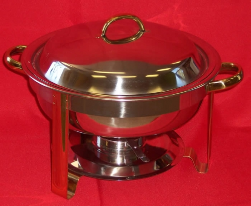 Chafer Round Stainless 4qt Gold Trim