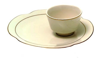 Ivory with Gold Band Snack Plate