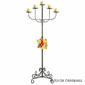 Candelabra, Wrought Iron Fan, 5 Light