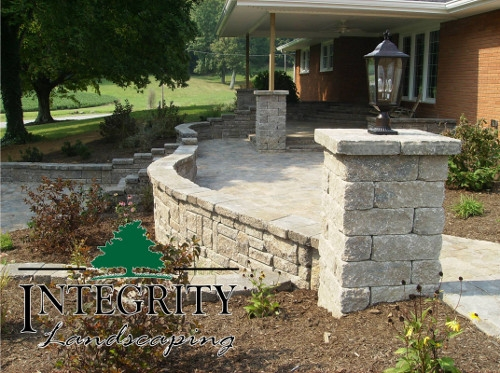 Block Wall with Column & Light Fixture