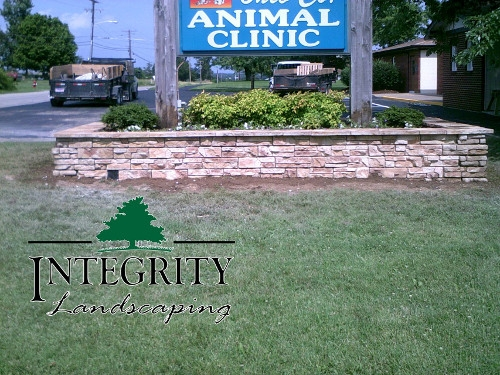Natural Stone Look Wall for Business Sign