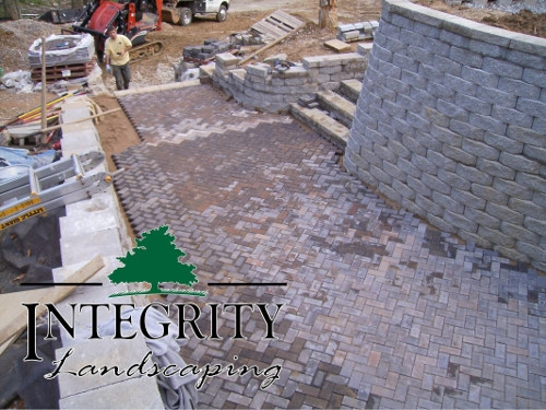 Retaining Wall, Steps & Herringbone Paver Patio