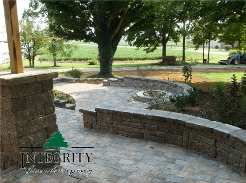 Tiered Patio with Sitting Wall & Firepit