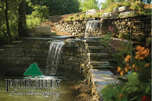 Stacked Stone Walls with Waterfall