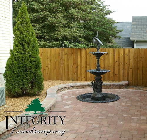 Paver Patio with Cutout for Fountain