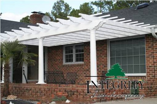 White Pergola Added to an Existing Structure